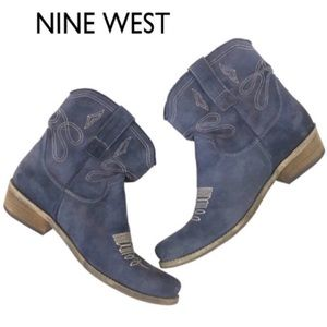 Nine West Slate Blue Jannr Western Boots🔥5 1/2